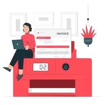 Ilustracja koncepcja drukowania faktur