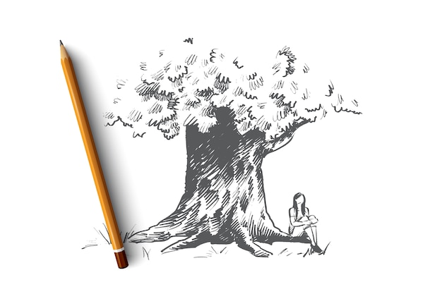 Ilustracja koncepcja duże drzewo