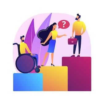 Ilustracja koncepcja dyskryminacji w miejscu pracy. dyskryminacja pracownika, kandydata do pracy, równe szanse zatrudnienia.