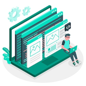 Ilustracja koncepcja działalności programisty