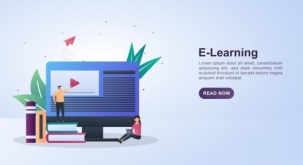 Ilustracja koncepcja e-learningu z osobą stojącą na stosie książek.