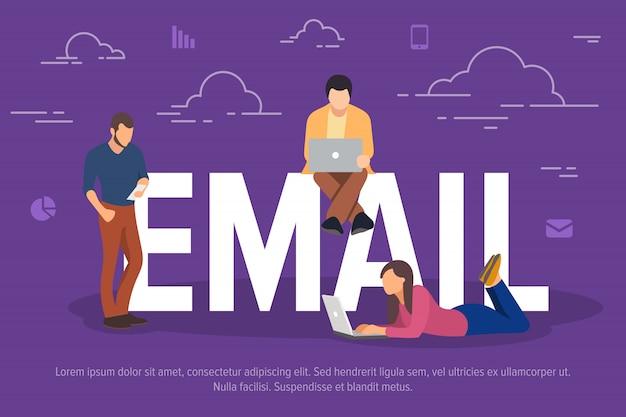 Ilustracja koncepcja e-mail. ludzie biznesu używający urządzeń do wysyłania wiadomości e-mail.