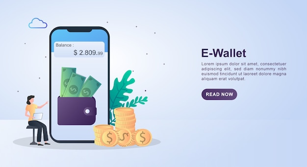 Ilustracja koncepcja e-portfela z portfelem wypełnionym pieniędzmi na ekranie i monetami.