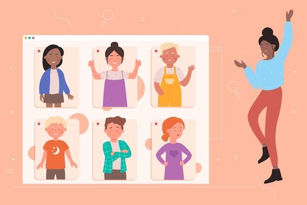 Ilustracja koncepcja edukacji online szkoły