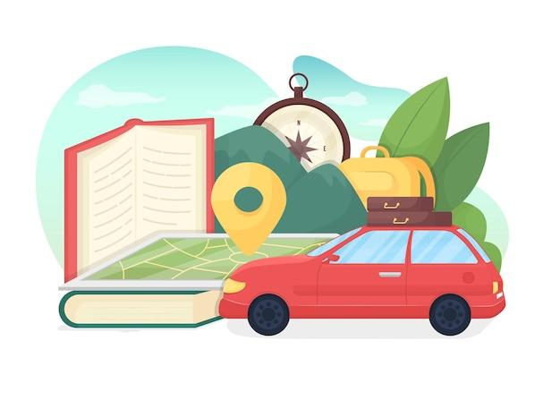 Ilustracja koncepcja edukacji turystyki płaskiej. odkrycie geograficzne. poznawaj świat. międzynarodowa wycieczka. zwiedzanie całego świata w kreskówkowej metaforze 2d do projektowania stron internetowych. podróżujący kreatywny pomysł