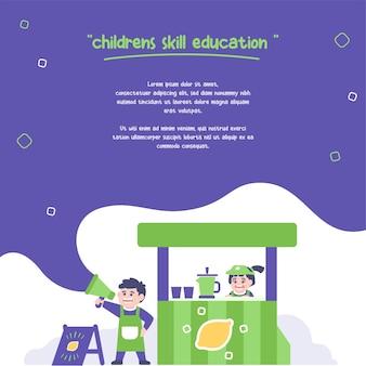 Ilustracja koncepcja edukacji umiejętności dla dzieci, dzieci sprzedają lemoniadę