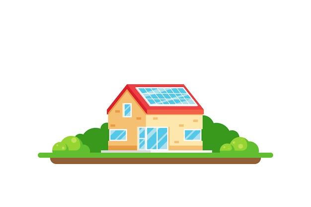 Ilustracja koncepcja ekologicznego domu zielonej energii