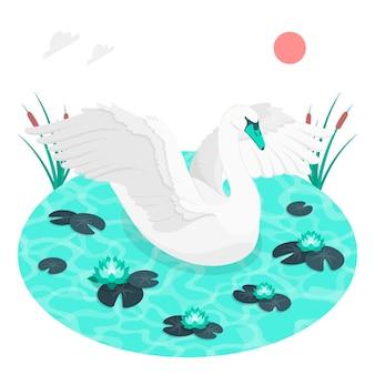 Ilustracja koncepcja elegancki łabędź
