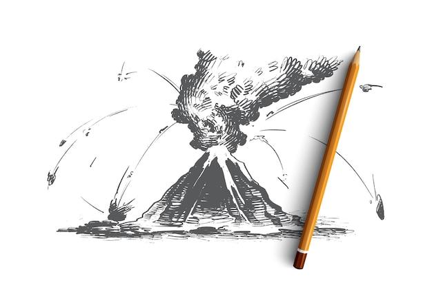 Ilustracja koncepcja erupcji wulkanu