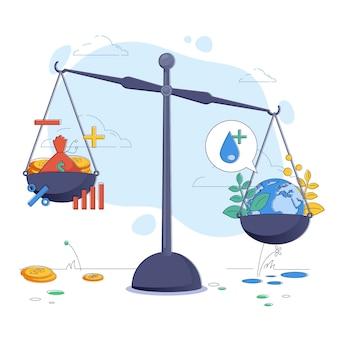Ilustracja koncepcja etyki biznesu z równowagą