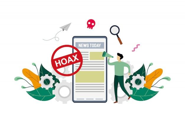 Ilustracja koncepcja fałszywych wiadomości