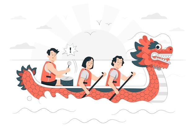Ilustracja koncepcja festiwalu smoczych łodzi