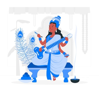 Ilustracja koncepcja festiwalu vasant panchami