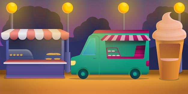 Ilustracja koncepcja festiwalu żywności, stylu cartoon