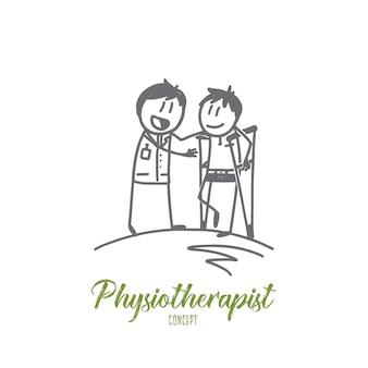 Ilustracja koncepcja fizjoterapeuty