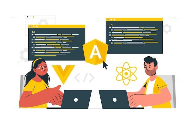 Ilustracja koncepcja frameworków javascript