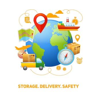 Ilustracja koncepcja globalnej koncepcji logistyki