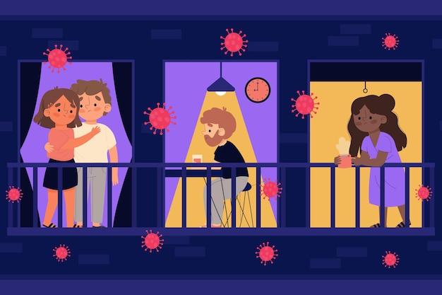 Ilustracja koncepcja godziny policyjnej koronawirusa