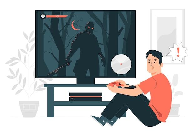 Ilustracja koncepcja gry wideo horror