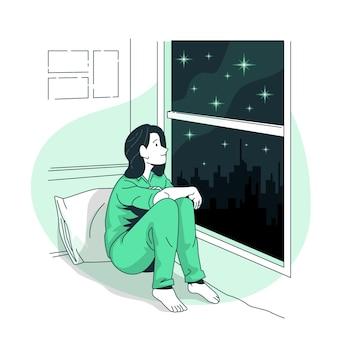 Ilustracja koncepcja gwiaździstego okna
