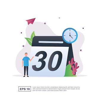 Ilustracja koncepcja harmonogramu z dużym kalendarzem.
