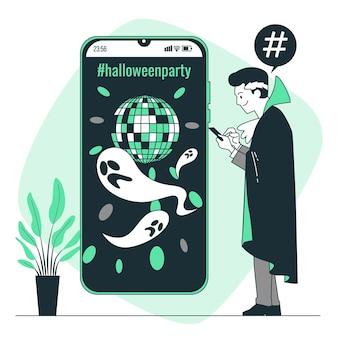 Ilustracja koncepcja hashtagów na halloween