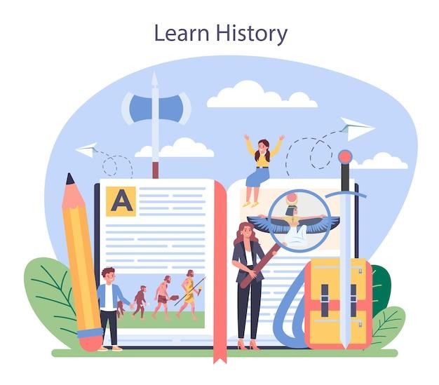 Ilustracja koncepcja historii w płaskiej konstrukcji