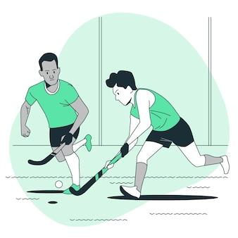 Ilustracja koncepcja hokeja na trawie