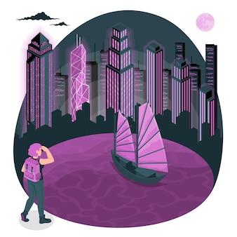 Ilustracja koncepcja hongkongu