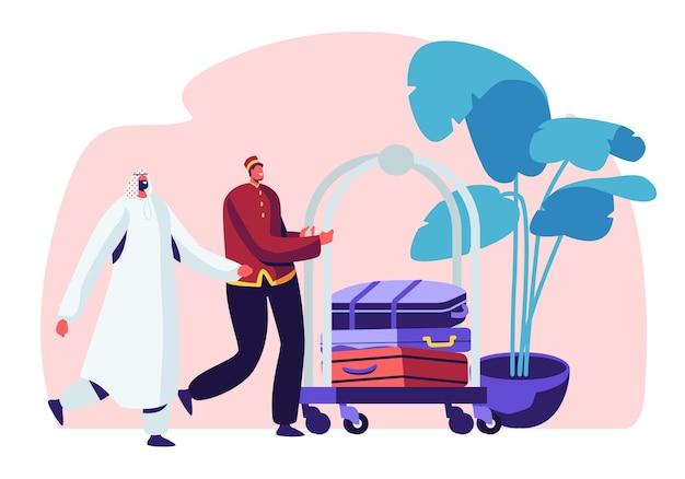 Ilustracja koncepcja hotelu rzeczy. hotel stuff meeting arabski gość w hali z bagażem wózkiem.