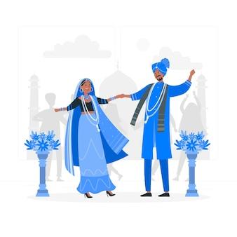 Ilustracja koncepcja indyjskiego ślubu