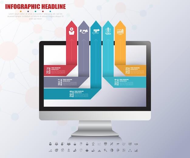 Ilustracja koncepcja infografiki strzałek