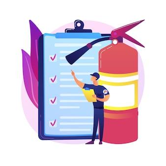 Ilustracja koncepcja inspekcji pożarowej. alarm i wykrywanie pożaru, lista kontrolna inspekcji budynku, spełnienie wymagań, certyfikaty bezpieczeństwa, przegląd roczny