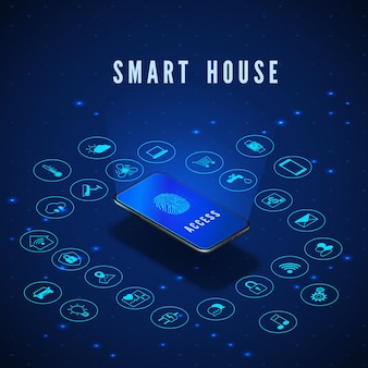 Ilustracja koncepcja inteligentnego domu lub iot