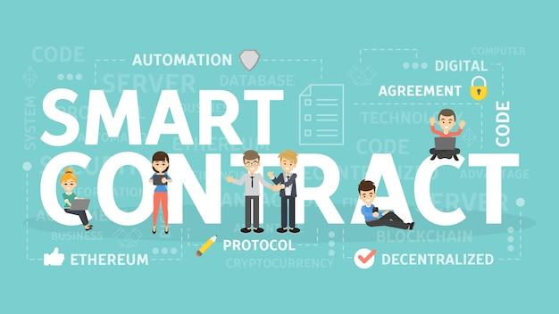 Ilustracja koncepcja inteligentnego kontraktu. pomysł na biznes online.