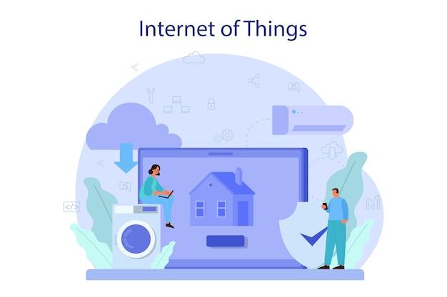 Ilustracja koncepcja internetu rzeczy. idea chmury, technologii i domu. nowoczesna technologia globalna. połączenie między urządzeniami a sprzętem agd.