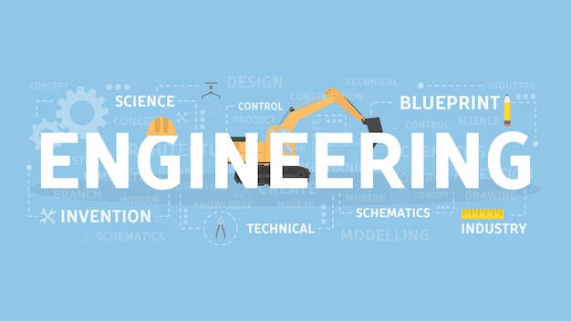 Ilustracja koncepcja inżynierii. idea techniki, nauki i przemysłu.