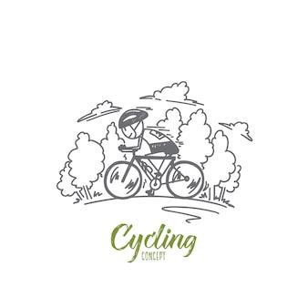 Ilustracja koncepcja jazdy na rowerze