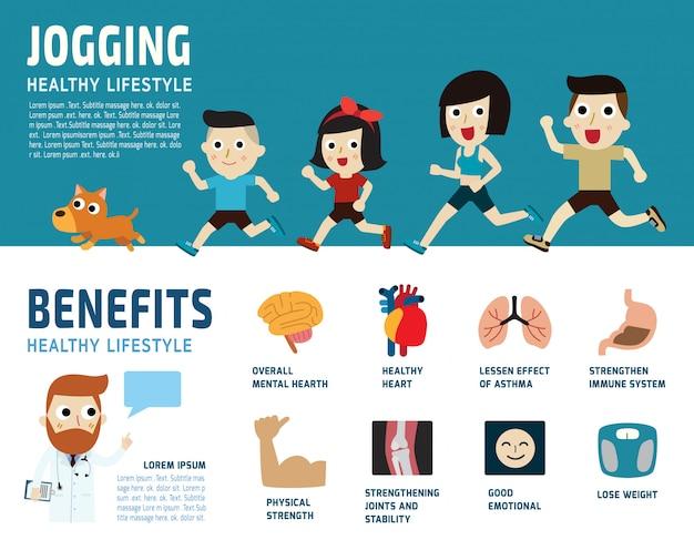 Ilustracja koncepcja jogging opieki zdrowotnej.