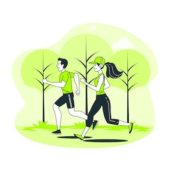 Ilustracja koncepcja joggingu