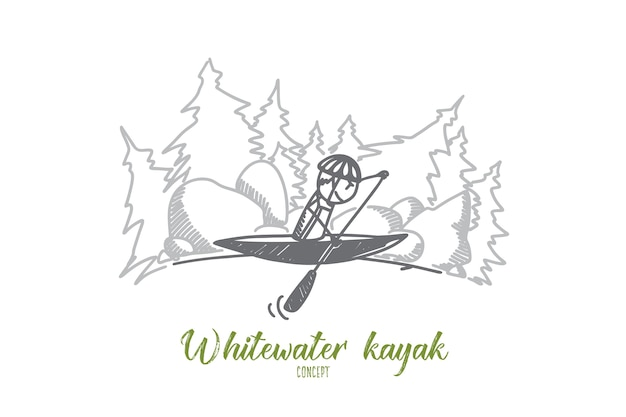 Ilustracja koncepcja kajak whitewater