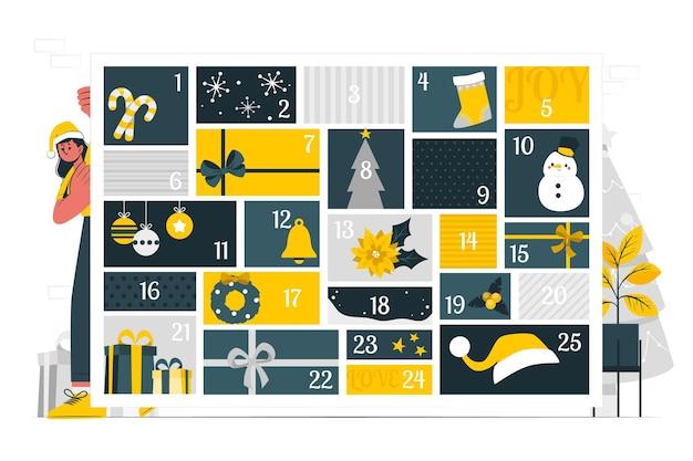 Ilustracja koncepcja kalendarza adwentowego