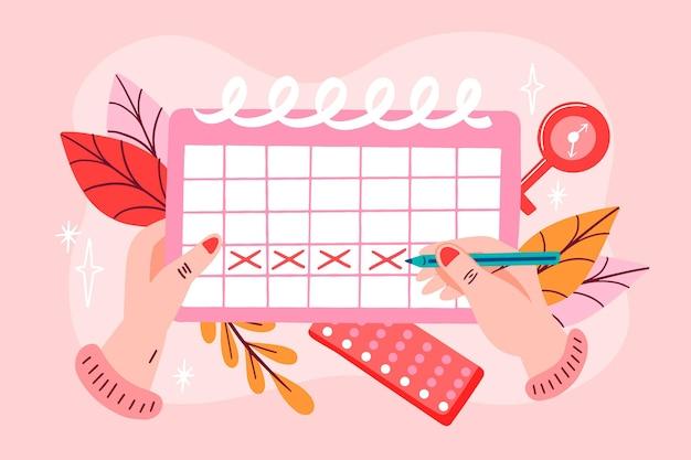Ilustracja koncepcja kalendarza menstruacyjnego