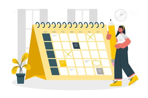 Ilustracja koncepcja kalendarza