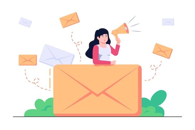 Ilustracja koncepcja kampanii e-mailowej
