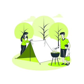 Ilustracja koncepcja kempingu