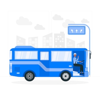 Ilustracja koncepcja kierowcy autobusu