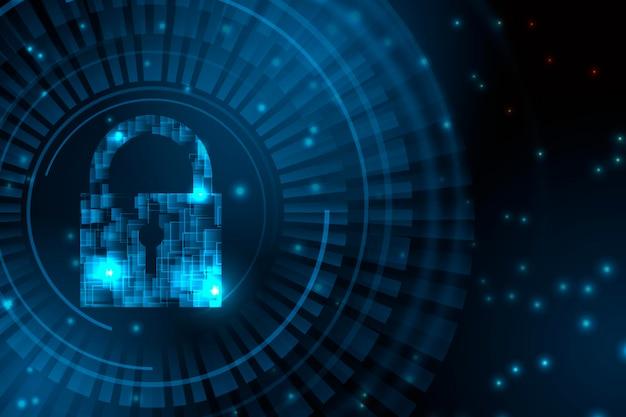 Ilustracja koncepcja kłódki bezpieczeństwa cybernetycznego