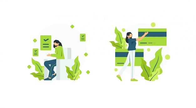 Ilustracja koncepcja kobieta i karty kredytowej