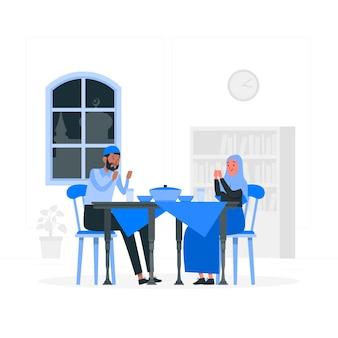 Ilustracja koncepcja kolacji iftar